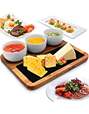 Nutrichef Cheese & Snack Presentation Platter - Sauce Bowls and Wood Serving Tray Set with Slate Stone, One Size, Brown