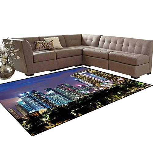 Travel,Rug,Singapore Cityscape at The Night Modern Architecture Urban Life Asian East Landmark,Home Decor Floor Carpet,Multicolor,6'x9' from Yaoni