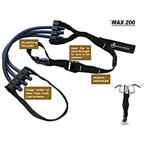 INTENT SPORTS Pull Up Assist Band MAX 200 UP to 200 LB of Assistance! Chin Up Workout eBook! High Performance Resistance Bands Get Stronger Crossfit or Workout Program (Patent Pending)