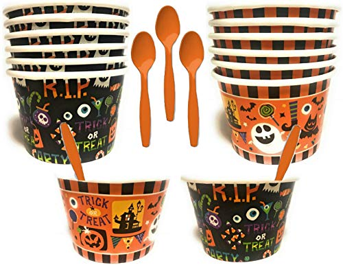 Halloween Themed Paper Ice Cream/Dessert/Snack Serving Bowls With Spoons - 2 Designs - 24 Total