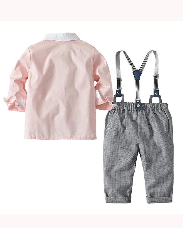 3 Pcs de Manga Larga para Niños Camisa + Pantalones + Corbata de ...