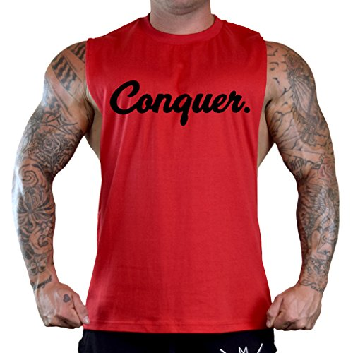 Price comparison product image Conquer Signature Workout Fitness Men's Red Sleeveless T-Shirt Tank Top V284 Medium Red