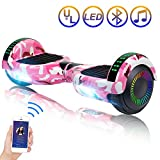 SISIGAD Hoverboard Self Balancing Scooter 6.5'' Two-Wheel Self Balancing Hoverboard with Bluetooth Speaker and LED Lights Electric Scooter for Adult Kids Gift UL 2272 Certified Fun Edition - Pink Camo