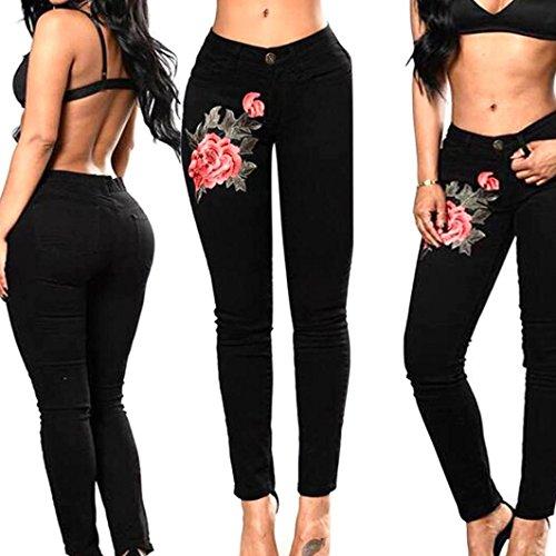 Rtro Broderie Jeans Crayon Pants Haute Denim Vintage Noir Fit Femmes Skinny Broderie Taille Stretch SANFASHION Collants Slim Pantalon Leggings SSgZY