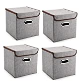 Prorighty Durable Storage Bins with LIDS, Large or Small, Containers, Boxes, Tote, Baskets| Collapsible Storage Cubes For Nursery Household Organization | Declutter Shelf Closet | (4, Medium)