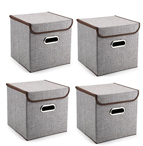 Durable Storage Bins with LIDS, Large or Small, Containers, Boxes, Tote, Baskets| Collapsible Storage Cubes For Nursery Household Organization | Declutter Shelf Closet | (4, Medium) - Princess Collection White Finish Chest