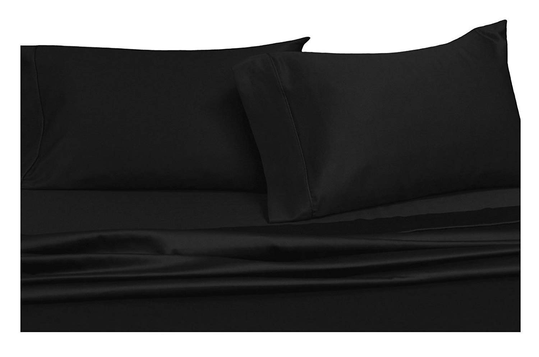 UK-Single 1000TC Egyptian Cotton Duvet Set//Sheet Set//Fitted//Flat Black Solid