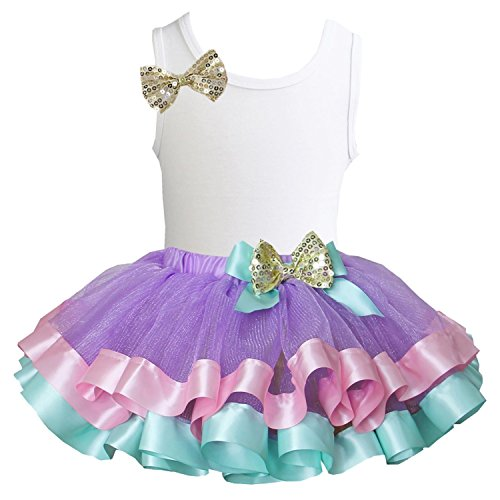 Kirei Sui Satin Trimmed Tutu Birthday Tank Top S Gold Bow White Top (Satin Bow Tank Top)