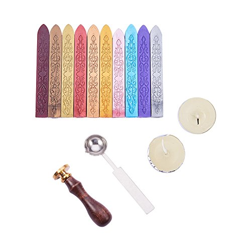 Pandahall Elite 10 Pcs Antique Sealing Wax Sticks without Wicks 1 PCS Wax Stamp 1 PCS Melting Spoon and 2 Pcs White Candles for Retro Vintage Wax Seal Stamp (Spoon Jewelry Maker)
