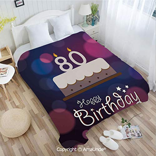 AmaUncle Super Soft Flannel Blanket Abstract Backdrop with Birthday Party Cake and Candles(W72.83 xL86.62) Multi Color with Unique Design for Bed or Sofa ()