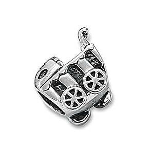 Para cochecito de bebé de plata de ley Bead Charm - para Pandora y pulseras: Amazon.es: Joyería