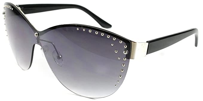 dfaa3caf066  quot Madison quot  Studded Shield Fashion Sunglasses with Light Tint for  Stylish Women (Black
