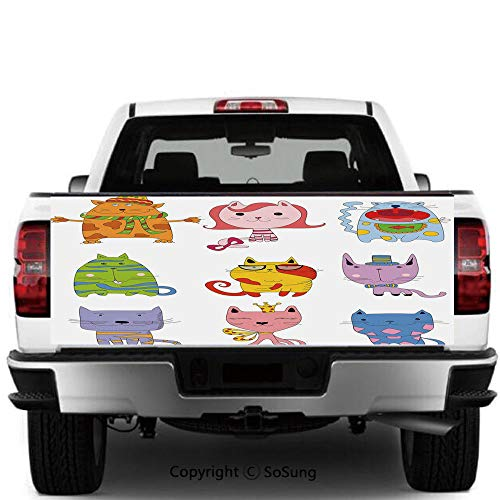 SoSung Cat Vinyl Wall Stickers,Cute Funny Cartoon Doodle Style Kittens Colorful Collection Lazy Happy Clever Stylish Decorative Cars Trucks Decorative Decal Sticker,55x15 Inches,Multicolor