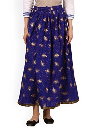 Indian Handicrfats Export Saadgi Blue Printed Flared Maxi Skirt