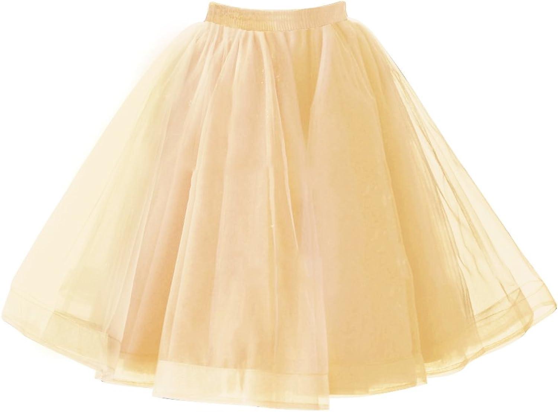 Babyonlinedress Femme Jupon Vintage 4 Couches de Tulle Voile Elastique Petticoat Tutu