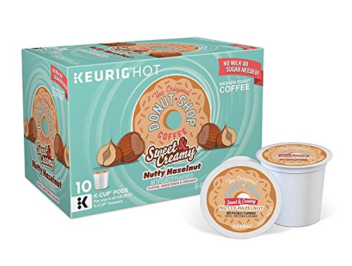 Donut Shop Sweet & Creamy Nutty Hazelnut Keurig K-Cup Coffee - No Milk or Sugar Needed (10 KCups) Coffee Shop Hazelnut Coffee