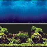 Vepotek Aquarium Background Double sides (Deep Sea/Water Plants) (36''W X 24''H)