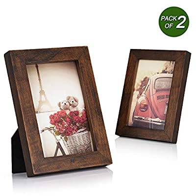 Emfogo 4x6 Picture Frames Photo Display for Tabletop or Wall Mount Solid Wood High Definition Glass Photo Frame Pack of 2 Vintage Walnut - EXQUISITE FRAME: Made of solid Paulownia wood, finished with the burnished black accents,high definition glass and smooth boarding at the back, the exquisite picture frame has been carefully designed by the designer to protect and decorate your beautiful pictures SIZE: Fits 4x6 inch photos! Photo frame's outer dimension is 6.96'' L x 4.92'' W x 0.78'' H EASY MOUNTING: Comes with easy opening tabs at the back for easy access for loading photos. The frame can be put for table top display vertically or horizontally, and hung on the wall by wall hanger at back, screw in the package - picture-frames, bedroom-decor, bedroom - 51d8MOTPMdL. SS400  -