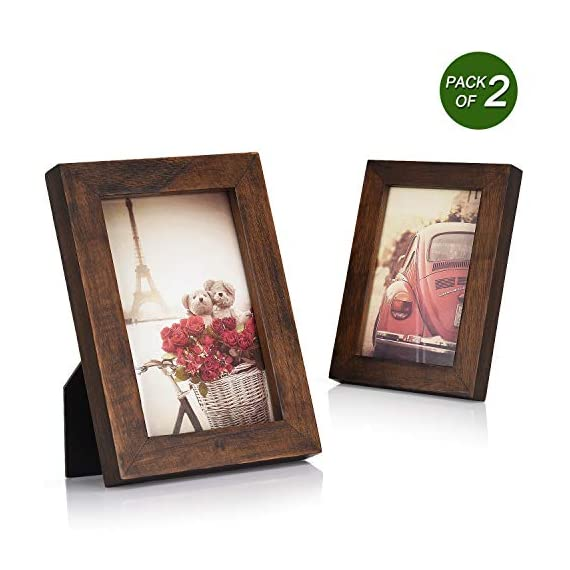 Emfogo 4x6 Picture Frames Photo Display for Tabletop or Wall Mount Solid Wood High Definition Glass Photo Frame Pack of 2 Vintage Walnut - EXQUISITE FRAME: Made of solid Paulownia wood, finished with the burnished black accents,high definition glass and smooth boarding at the back, the exquisite picture frame has been carefully designed by the designer to protect and decorate your beautiful pictures SIZE: Fits 4x6 inch photos! Photo frame's outer dimension is 6.96'' L x 4.92'' W x 0.78'' H EASY MOUNTING: Comes with easy opening tabs at the back for easy access for loading photos. The frame can be put for table top display vertically or horizontally, and hung on the wall by wall hanger at back, screw in the package - picture-frames, bedroom-decor, bedroom - 51d8MOTPMdL. SS570  -