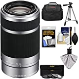 Sony Alpha E-Mount 55-210mm f/4.5-6.3 OSS Zoom Lens with 3 UV/FLD/PL Filters + Case + Tripod Kit for A5100, A6000, A6300, A6500 Cameras