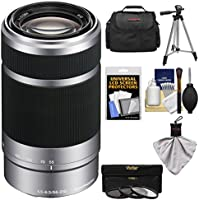 Sony Alpha E-Mount 55-210mm f/4.5-6.3 OSS Zoom Lens with 3 UV/FLD/PL Filters + Case + Tripod Kit for A7, A7R, A7S Mark II, A5100, A6000, A6300 Cameras