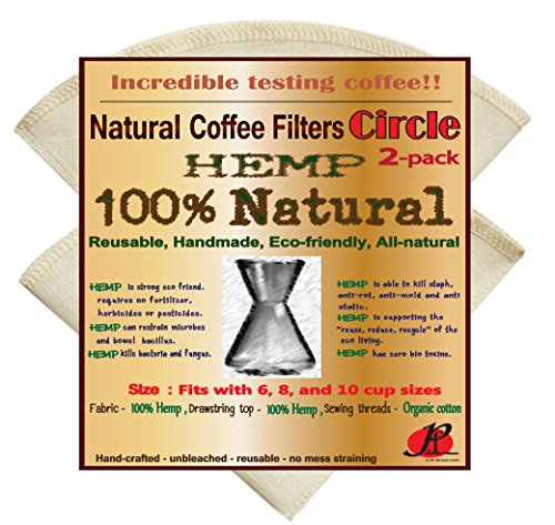 Reusable Coffee Filters for Chemex ,No Harmful Chemical ,All Natural ,2 Pack of P&F Circle Shaped Filters by P&F Coffee Filters