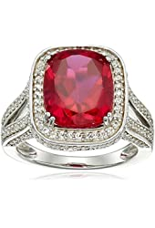 Sterling Silver, Created Ruby, and Round Created White Sapphire Cocktail Ring