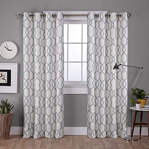 Exclusive Home Curtains Kochi Linen Blend Window Curtain Panel Pair with Grommet Top, 54x108, Dove Grey, 2 - Drapery Fabric Blend Linen