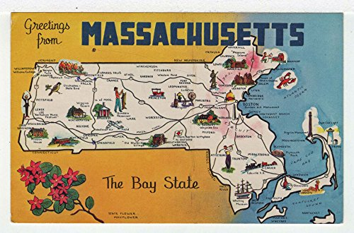 Greetings from Massachusetts Vintage Original Postcard #3655 - 1960's ()