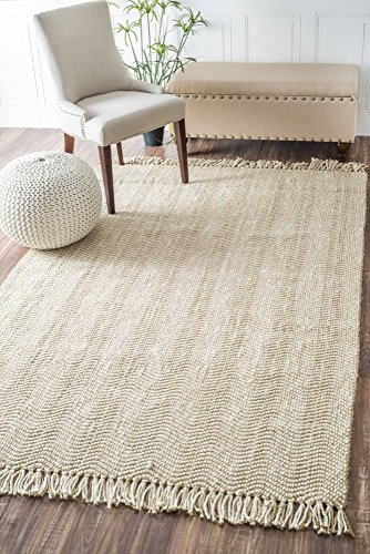 nuLOOM Natura Collection Don Jute with Fringe Solid and Striped Natural Fibers Hand Made Area Rug, 7-Feet 6-Inch by 9-Feet 6-Inch, (Jute Fringe)