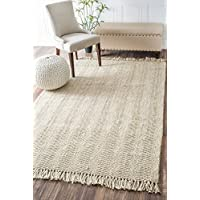 nuLOOM 200NCNT01A-305 Hand Woven Don Jute with Fringe Area Rug, 3 x 5