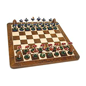 WE Games Football Chess Set - Handpainted Pieces & Walnut Root Board 19 in.