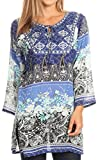 Sakkas Caterina Boho Lightweight Casual Embroidered Floral Tunic / Blouse Top