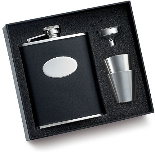6 oz. Black Bonded Leather w/ Oval Convex Flask w/ 2 Shooters and Funnel Gift Set & Gift Box Perfect Gift For Him / Her ()
