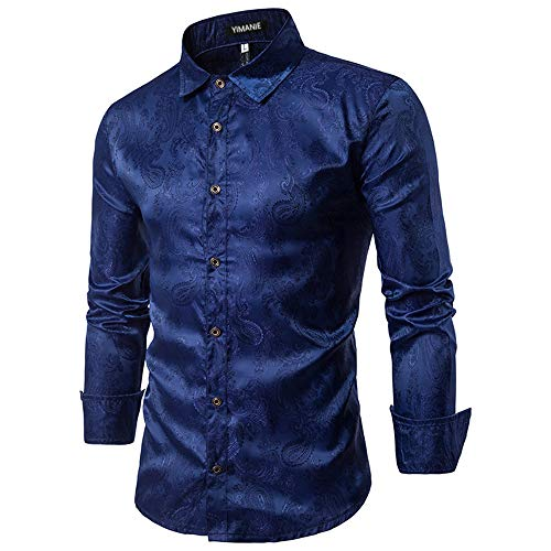(YIMANIE Mens Regular Fit Long Sleeve Shiny Silk Like Satin Dance Prom Luxury Dress Shirt Camouflage Tops (Navy, XX-Large) )