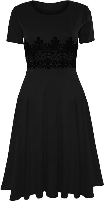 4b7428f5c25 Womens Ladies Cap Sleeve Waist Lace Flared Franki Skater Midi Dress Plus  Size
