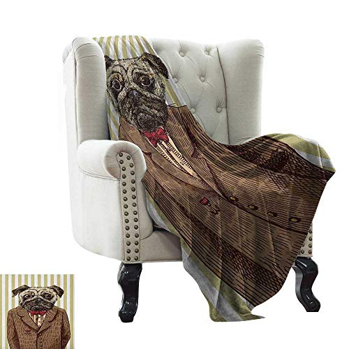 warmfamily Pug,Weave Pattern Extra Long Blanket,Hand Drawn Sketch of Smart Dressed Dog Jacket Shirt Bow Suit Striped Background 60