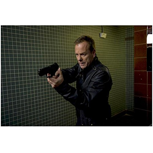 (24: Live Another Day Kiefer Sutherland as Jack Bauer Holding Gun in Black Leather Jacket Tiled Background 8 x 10 inch)