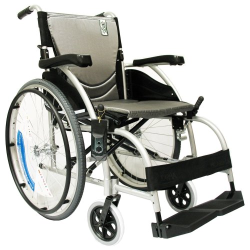 Electric Wheelchair Tubes - Karman Healthcare S-105 Ergonomic Ultra Lightweight Manual Wheelchair, Pearl Silver, 16 Inches Seat Width