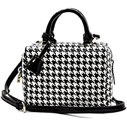 Elphis Houndstooth Glossy Box Satchel Crossbody Bag Purse (H049) (Black)