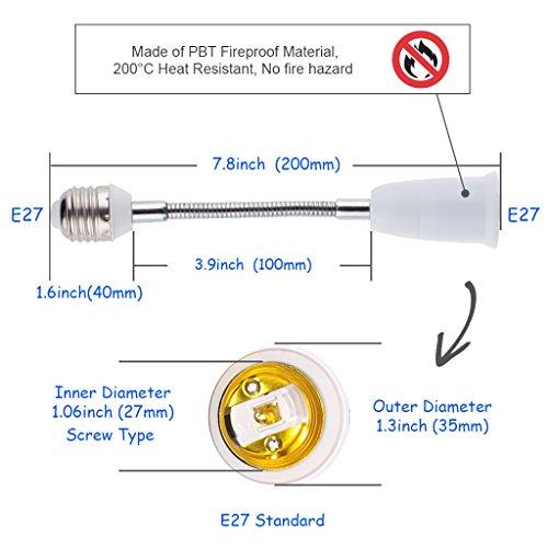 iKefe E27 Flexible Light Bulb Lamp Socket Adapter Extender/Adjustable Edison Bulb Socket Extension for Home Light Fixtures/LED Grow Light Socket Stand etc (E27 to E27, 4PCS, 7.8inch) by iKefe (Image #2)