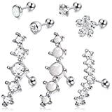 LOYALLOOK 4-6Pcs CZ Barbell Helix Piecing Cartilage Earring Stainless Steel Nose Lip Studs Opal Tragus Body Piercing Jewelry 16G