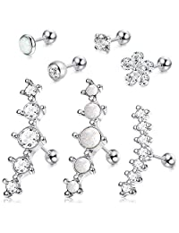 Milacolato 6Pcs CZ Barbell Helix Piecing Cartilage Earring Stainless Steel Nose Lip Studs
