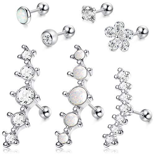 LOYALLOOK 4-6Pcs CZ Barbell Helix Piecing Cartilage Earring Stainless Steel Nose Lip Studs Opal Tragus Body Piercing Jewelry 16G (E:7PCS Sliver Tone)