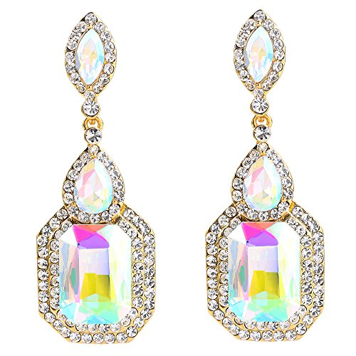 BriLove Women's Wedding Bridal Dangle Earrings Emerald Cut Crystal Infinity Figure 8 Chandelier Earrings Iridescent AB w/Clear Gold-Toned