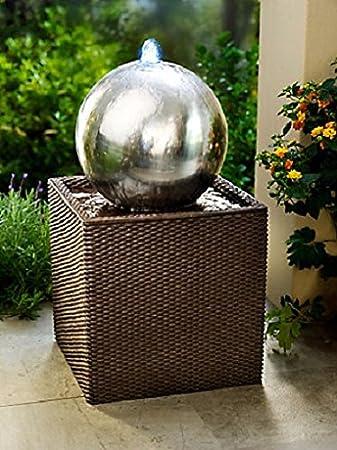 Unbekannt Gartenbrunnen mit LED Beleuchtung Rattan Brunnen ...