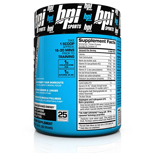 BPI Sports Pre-Training Power and Energy Fuel Powder, Watermelon Cooler, 8.8 Ounce