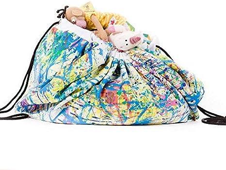 Recoge juguetes saco organizador alfombra con cuerdas
