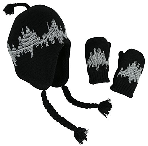 N'Ice Caps Little Boys and Baby Sherpa Lined Micro Fleece Pilot Hat Mitten Set (Sherpa Lined Black Knit / Glows, 2-3 (Sherpa Lined Flap Hat)