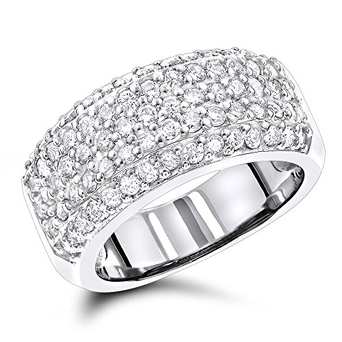 Platinum Pave Set Diamond Band - Luxurman Ladies Wedding 14K Pave Set Natural 1.5 Ctw Diamond Band For Her (White Gold Size 6)